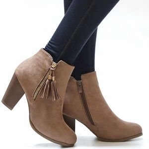 New Taupe Suede Tassel Western Ankle Booties Boots